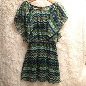 Rue 21 green navy white chevron dress size small